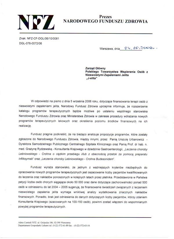 Odpowiedź zNFZ napismo z05.2006