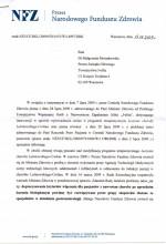 Pismo odPrezesa NFZ zdnia 13.08.2009