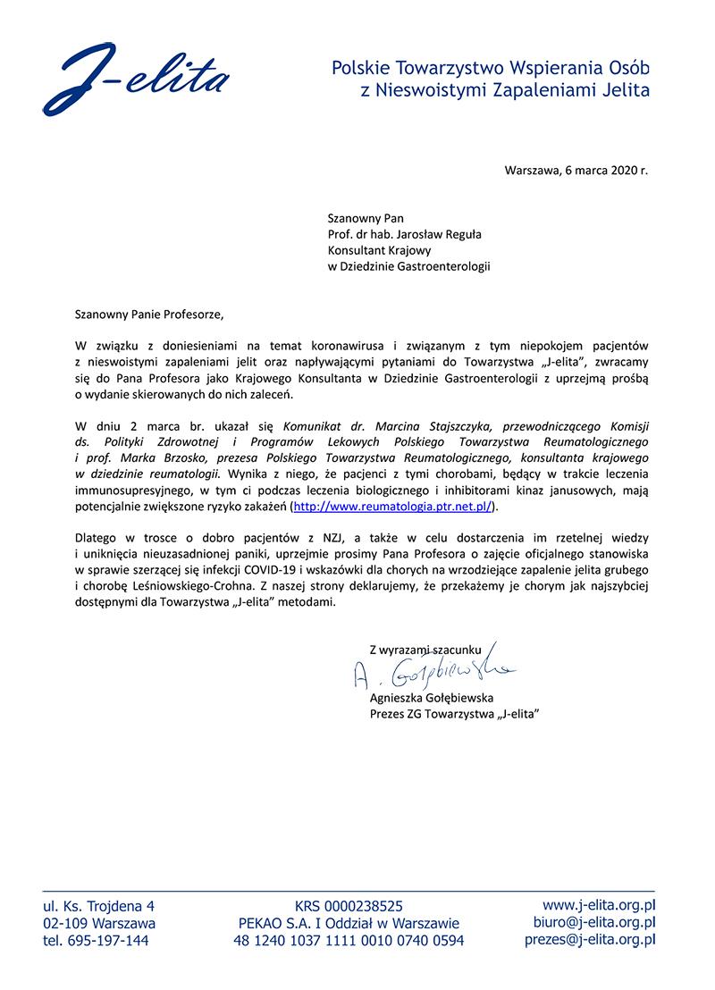 Koronawirus – prośba Towarzystwa J-elita