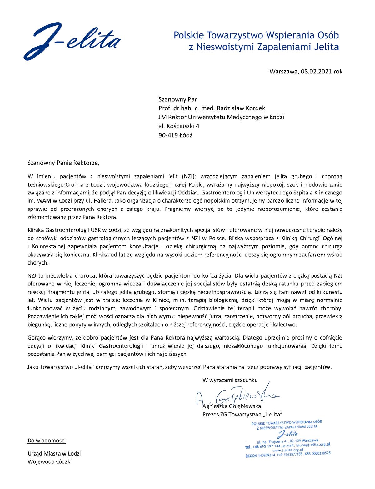 Apel doJM Rektora ws likwidacji Kliniki Gastroenterologii wŁodzi